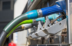 Blue gas pump nozzles Stock Photography