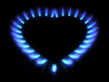 Blue gas stove in the dark Stock Photography