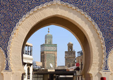 Blue Gate Bab Bou Jeloud in Fes, Morocco Royalty Free Stock Image