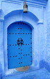 Blue gate in Chefchaouen Royalty Free Stock Photos