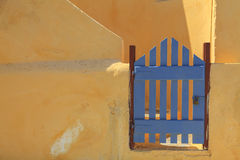Blue gate in Greece Royalty Free Stock Photography