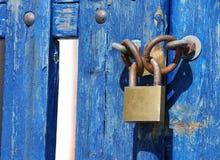 Blue Gate Lock Stock Image