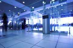 Blue gates in airport terminal Stock Images