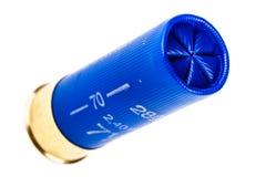 Blue 12 gauge shotgun shell isolated Royalty Free Stock Photos