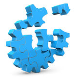 Blue Gear. Blue puzzles of gear on the white background Royalty Free Stock Photography