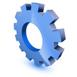 Blue gear wheel symbol. On white background vector illustration