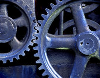 Blue Gears. From old steam engine stock image