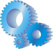 Blue gears. Set of three blue working gears vector illustration
