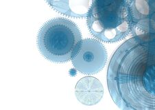 Blue Gears Background Stock Images