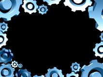 Blue gears frame background border Stock Images