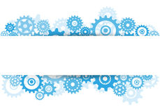 Blue gears overlapping banner advertisement on white background Royalty Free Stock Images