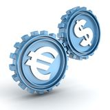 Blue gears showing a relationship and influence of the dollar on the euro Stock Image