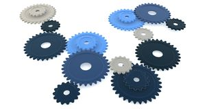 Blue gears on white. Illustration of blue colour gears isolated on white background Royalty Free Stock Photos