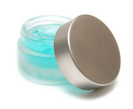 Blue gel. For care of the face in a glass jar Royalty Free Stock Photo