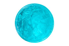 Blue gel with bubbles for perfect hairstyling Royalty Free Stock Photography