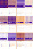 Blue gem and christine colored geometric patterns calendar 2016 Stock Images