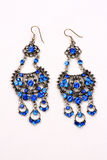 Blue Gems Earrings Stock Images