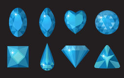 Blue gems set. Jewelry, crystals collection isolated on black background.   Royalty Free Stock Photo