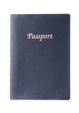 Blue generic passport. Generic dark blue passport with copy space isolated on white background Stock Photo