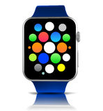 Blue generic smart watch with icons Royalty Free Stock Images