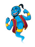 Blue Genie. Being raised and clenched fist happily vector illustration