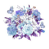 Blue Gentle Vintage Floral Greeting Card Royalty Free Stock Image