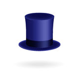 Blue gentleman hat cylinder with silk ribbon. Elegance and luxury symbol. Volumetric icon isolated on white background. Vector Ill Stock Photo