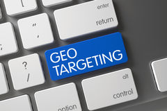 Blue Geo Targeting Button on Keyboard. 3d. Geo Targeting Concept Laptop Keyboard with Geo Targeting on Blue Enter Key Background, Selected Focus. 3D Stock Photography
