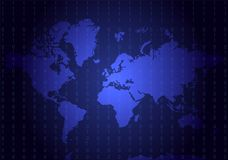 Blue geographical map with code numbers. All continents: Asia, E Royalty Free Stock Photography