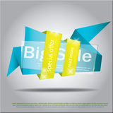 Blue geometric background with paper and transparent glass details. Business backdrop good for sale, flyer, special offer poster Royalty Free Stock Photos