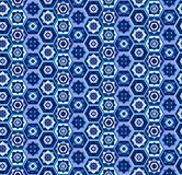 Blue geometric carpet pattern with hexagons royalty free illustration