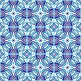 Blue geometric ceramic azulejo tile design. Pattern For wallpaper, backgrounds, page fill and more. Gorgeous seamless patchwork pattern from blue and white stock illustration