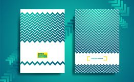 Blue geometric flyer, cover business. Vector design, brochure, leaflet advertising abstract background, Hipster layout template Stock Images