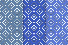 Blue geometric ornaments. Set of seamless patterns. Blue geometric ornaments. Set of vertical seamless patterns for web, textile and wallpapers Stock Photography