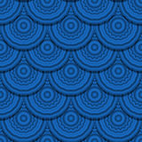 Blue geometric pattern. Fish scale seamless pattern with blue cirles Royalty Free Stock Photo