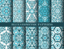 Blue geometric patterns collection Royalty Free Stock Photo