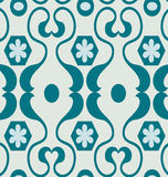 Blue Geometric Patterns. Seamless geometric pattern with blue flowers and round type Stock Images