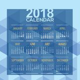 2018 Blue Geometric Printable Calendar Starts Sunday. Vector Illustration Stock Images