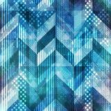 Blue geometric seamless pattern with grunge effect Stock Image
