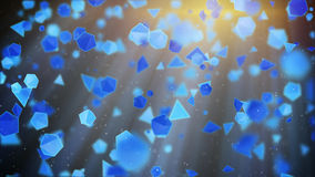 Blue geometric shapes flying in light rays. Abstract 3d render Royalty Free Stock Photos