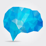 Blue geometric speech bubble with triangular polygons Royalty Free Stock Image
