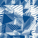 Blue geometric tiles seamless pattern, single color vector mosai Stock Images