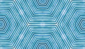 Blue Geometric Watercolor. Cute Seamless Pattern. Hand Drawn Stripes. Brush Texture. Authentic Chevron Ornament. Fabric Cloth Swimwear Design Wallpaper royalty free illustration