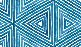 Blue Geometric Watercolor. Cute Seamless Pattern. Hand Drawn Stripes. Brush Texture. Immaculate Chev