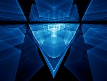 Blue geometrical perspective Stock Photos