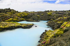 Blue geothermal pools Royalty Free Stock Photos