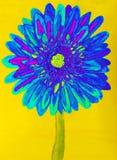 Blue gerbera, painting Stock Images
