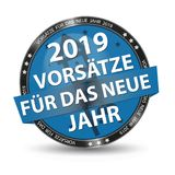 Blue German Glossy Button New Years Resolution 2019 With Firecracker And Stars - Vector Illustration - Isolated On White Backgroun. D royalty free illustration