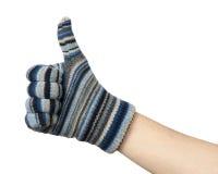 blue gesture hand mittens ok show Стоковая Фотография