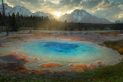 Blue Geyser at Yellowstone. National Park Royalty Free Stock Images
